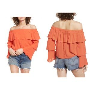 NWT Chloe & Katie Ruffle Off The Shoulder Top